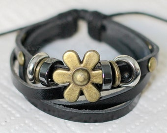 277 Men's black leather bracelet Flower bracelet Charm bracelet Women bracelet Men bracelet Leather jewelry bracelet Gift for women and men