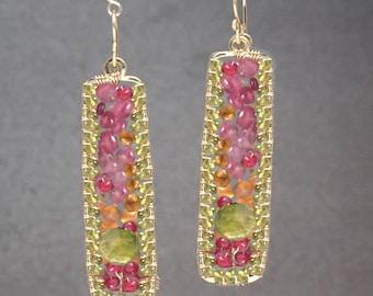 Drop Chandelier Gemstone Earrings Pink Ruby Carnelian Peridot Bohemian 175