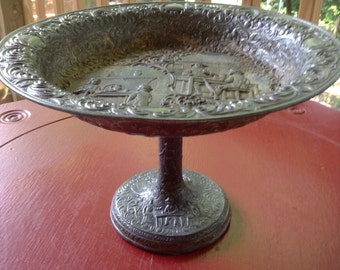 Repousse Pedestal Centerpiece Bowl Made in Japan Silver Metal Gothic Home Decor Victorian Scenery Embossed Design