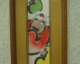 Vintage Japanese tanzaku with frame, hand painted Daruma,  art on a poem card