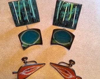 3 Sets Enamel Screw Back Earrings, Vintage Mid Century and Hogan Bolos Earrings, Modernist