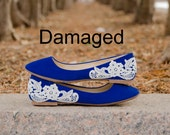Damaged - Wedding Flats, Blue Flats, Flat Wedding Shoes, Bridal Flats, Ballet Flats, Blue Suede Flats with Ivory Lace.US Size 9