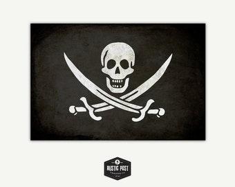Vintage Calico Jack Jolly Roger Flag Canvas Print 24x36, Flag Wall Art Decor