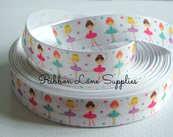 "7/8"" Ribbon by the Yard -Dancing girls-Ballerina girls white Grosgrain Ribbon-Perfect for Bows Clips Scrap booking Sewing"