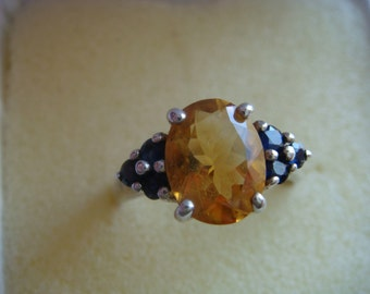 Gorgeous Citrine and Sapphire Ring