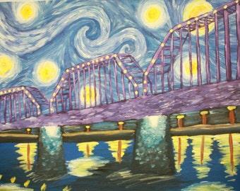 Walnut St Walking Bridge Starry Night (Chattanooga, TN)