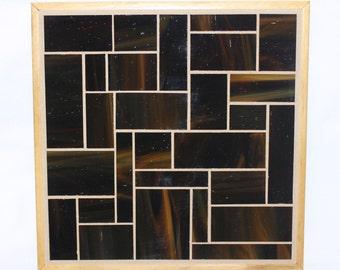 Dark brown glass mosiac trivet with wood trim