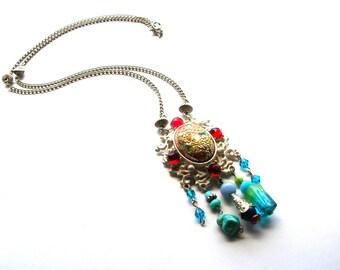 Funky Bohemian Necklace - Boho Statement Necklace - Long Bohemian Necklace