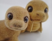 Josef Original Flocked 2 Vintage Fuzzy Animals Momma and Baby Walrus Seals Sea Lions