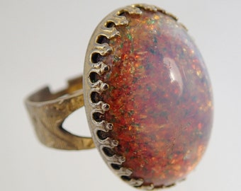 FREE Shipping Vintage Huge Chunky Multi Colored Rainbow Foil Art Glass Cabochon Ring Adjustabe Band  1960s