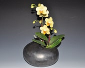 Pebble-like black ceramic vase, Ikebana vase, Holidays gift, wedding gift, house warming gift
