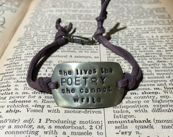 She lives the poetry she cannot write Oscar Wilde Inspired Bracelet
