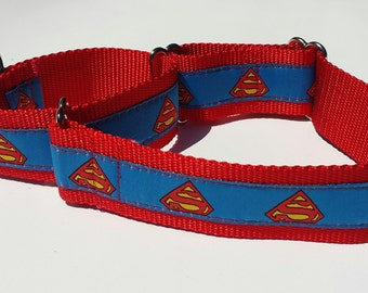 "1.5"" Wide Martingale Collar, Superman Hero"