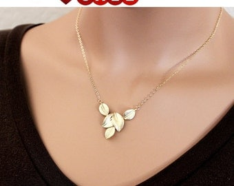 Leaf necklace, Five Leaves Necklace, Gold Necklace, personlized necklace, Bridal, Bridesmaid Jewelry, Friend, Mom, Sister, Gift