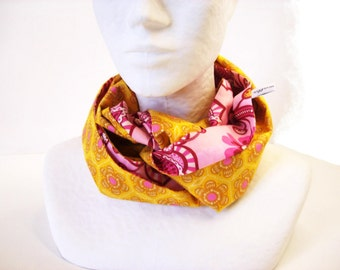 infinite scarf pink and yellow flowered cotton voile-circle scarf for spring in multicolor fabric
