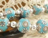 10mm Turquoise Blue Clay Inlay Indian Style Round Beads, Antiqued Silver Inlay (2)