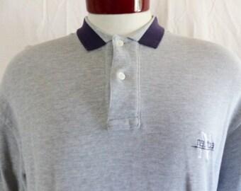 vintage 90's Nautica solid heather grey pique knit polo shirt striped collar embroidered navy blue logo minimal preppy oversized medium