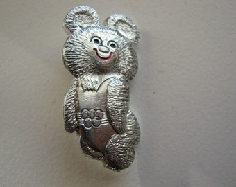Vintage USSR Soviet union olympic BEAR Moscow games pin badge