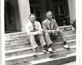 Old Photo 2 Men Sitting on Steps wearing Suits and Wingtip Shoes 1930s Photograph snapshot vintage