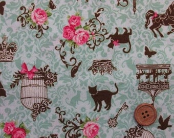 Cat in Paris Green / Japanese Fabric - 110cm x 50cm