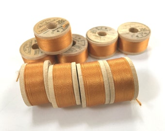 BELDING CORTICELLI - Vintage Thread - Pure Silk - Orange ish #5475 - 10 yd Spools - Buttonhole Embroidery Ribbon Fly Tying