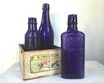 Vintage PURPLE GLASS BOTTLE - Bonnie Bros Half Pint - Amethyst - Whiskey Flask Bottle - Embossed - Advertising