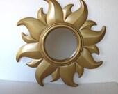 "Large Vintage Gold Sunburst Mirror, Celestial Starburst, circa 60's,  17"" x 17"", Paris Decor, gift idea"