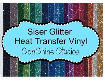 "6 Siser Glitter Heat Transfer Vinyl Sheets - 12"" x 19.5"",  DIY T-shirts -"