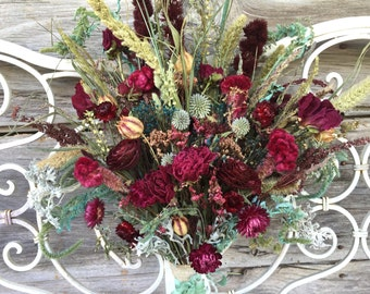 Victorian Bridal Bouquet Wedding Dried Flower Burgundy Peony Rose Love In Mist Blue Green Natural Strawflower Magentia