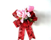 Valentine's Day gift wrapping bow/ Bow for women/ Gift bow for her/ Valentine heart and roses bow/ Home decoration/ Party decoration (V71)
