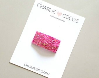 Bubblegum Pink Glitter Snap Hair Clip // Baby Girl Glitter Snap Hair Clip by charlie coco's