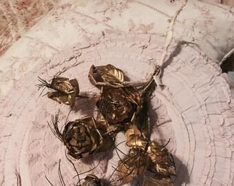 Stunning rare antique french bridal gold rose bouquet metallic wedding altar tinsel garland crown millinery
