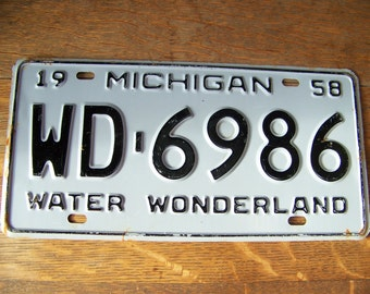 Vintage Michigan License Plate 1958.Michigan Awesome.Car Accessories.Water Wonderland.Automobile Plate.Vintage License Plate.Car Wall Decor.
