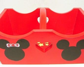 Mickey Mouse Carry All, Disney Tote, Hand Painted Wood, Disney Decoration, Wood Centerpiece, Disney Holder, Disney Basket, Napkin Holder