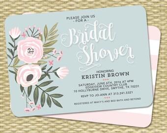 Bridal Shower Invitation Bridal Shower Invite Floral Bridal Shower Flowers Blush Pink Blue Wedding Shower ANY EVENT