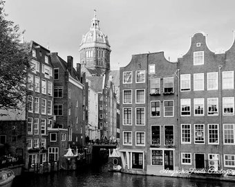 Black and White photo, Amsterdam pictures, Holland photo, Architecture, Old city, Cityscape, Netherlands, gift under 40, Bridges, Christmas
