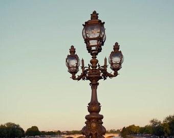 Paris photograph, Paris Lamp photo, River Seine, Lamppost, Parisian, travel photography, Square paris photo, gift under 40, Christmas,