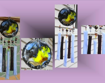 Blue Black Galactic Ceramic Windchimes,  Fused Glass Art, Garden Decor, Stained Glass Window Suncatcher, Hanging Mobile Pottery