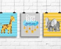 Jungle decor nursery, blue gray nursery decor, jungle nursery art prints, elephant giraffe nursery decor, dream big little one print, G-3061