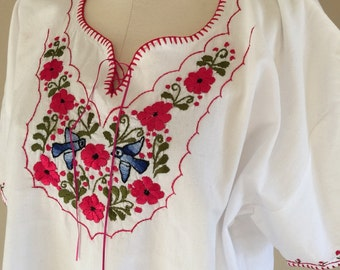 70s Blue Birds Embroidered Ethnic Boho Peasant Blouse