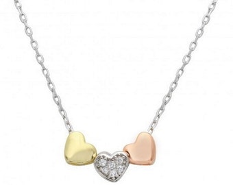 Sterling Silver 3 Toned Heart Charms Necklace #11