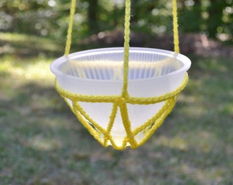 Crochet Candle Holder Hanging Plant Potpourri Upcycle Recycle Glass Lamp Shade Yellow Handmade Littlestsister