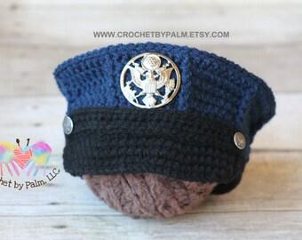 Crochet Baby Marine Hat Pattern : Original Design Crochet US Navy Baby Hat USN by ...