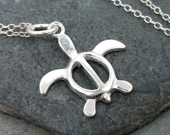 Sea Turtle Necklace - 925 Sterling Silver - Ocean Life Beach Sand New