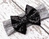 5 DOLLAR SALE-Sweater Collection- Silver/ Black  Bow-Head wrap-Girl Turban- Boho headband- Sparkle Turban-Silver Headband Sparkle Head wrap