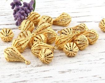 Gold Plated Filigree Teardrop Charm Pendants, Drop Charms, Drop Pendants, 2 pieces // GP-461