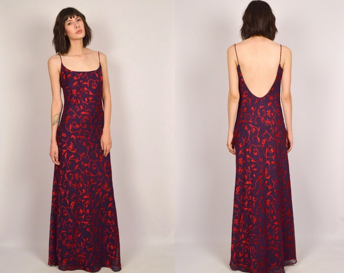 Vintage Backless Gown Floral Maxi Dress