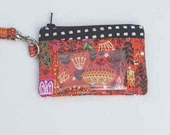 Zippered Wristlet, ID Pocket Wristlet, Orange and Black Wristlet, Floral Wristlet, Succulent Wristlet