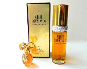 2 WHITE DIAMONDS Elizabeth Taylor Perfume Eau De Toilette Spray 1 Oz In Box Pure Perfume Mini 1/8 oz Excellent Condition