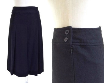 Black Vintage Skirt - Preppy Pleated Skirt - Everyday Warm Work Skirt